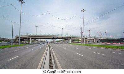 urban transport traffic on Leningradskoye shosse timelapse,...