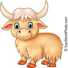 Cartoon cute yak isolated - Vector illustration of Cartoon...