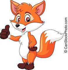 Cartoon funny fox giving thumb up - Vector illustration of...