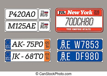 License car number plates vector set USA, European Union,...