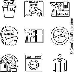 Cleaning service line icons Vacuum and cleaner, washer and...