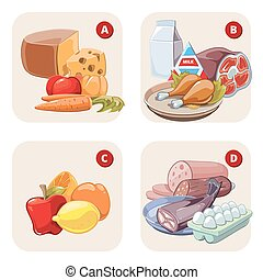 Healthy products containing vitamins. Vector infographic -...