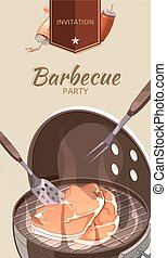 Barbecue BBQ party invitation vector template
