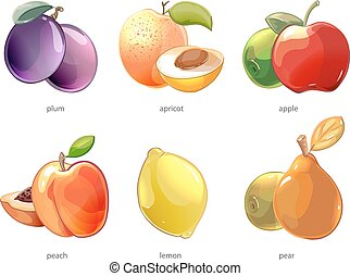 Cartoon fruits vector icons set. Apple and lemon, peach and...
