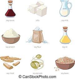 Cartoon soy food vector set Healthy diet, seed soya, tofu...