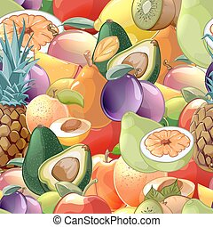 Cocktail fruits and berries seamless pattern background