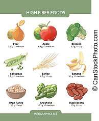 High fiber foods vector infographics - High fiber foods...