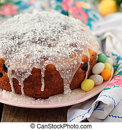Kulitch Kulich, Russian Easter Bread Topped with Sugar Icing...