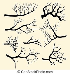 Tree branches vector set in hand drawn style