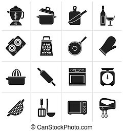 Black cooking tools icons - vector icon set