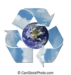 Recycle - Earth surrounded by a recycle sign.