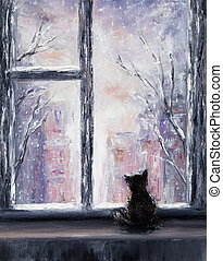 Cat and winter - Original abstract oil painting of a...