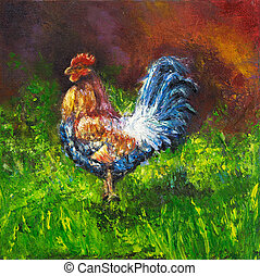 Rooster - Original oil painting of blue and orange rooster...