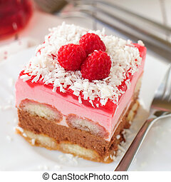 No Bake Chocolate, Raspberry and Savoiardi Layer Cake, Close...