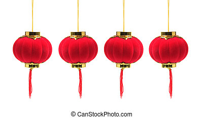 Chinese Lanterns on White Background