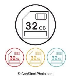 camera SD card line icon