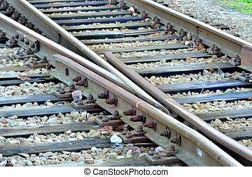 Railroad line with railroad switch on gravel.