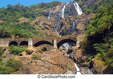 Dudhsagar Waterfalls and Railroad Bridge - Dudhsagar...