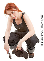 red-haired trendy girl - portrait of red haired girl in...
