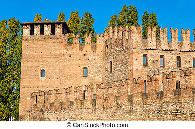Walls of Castelvecchio fortress in Verona - Italy