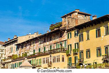 Buildings on Piazza delle Erbe in Verona - Italy