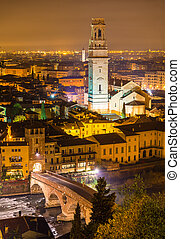View of Verona Cathedral and Ponte Pietra - Italy