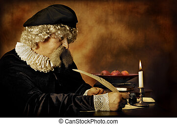 Rembrandt portrait - Lawyer or writer writing with a feather...