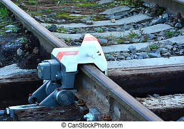 Derail device on railroad line - Derailer on railroad line