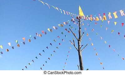 Prayer flags flying in the wind, Thailand, stock video