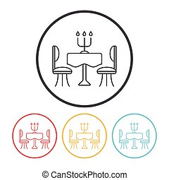 dinner table line icon