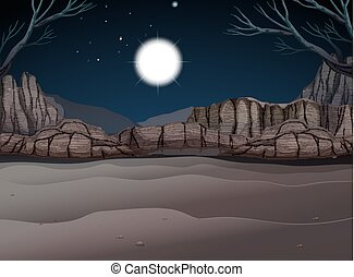 Nature scene of canyon at night illustration