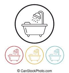 bathtub line icon