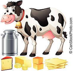 Cow and dairy products illustration