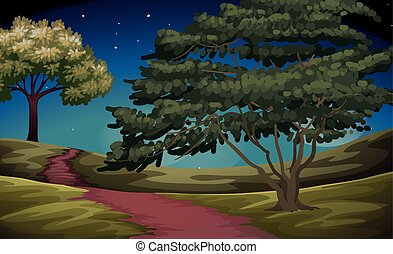Nature scene of countryside at night illustration