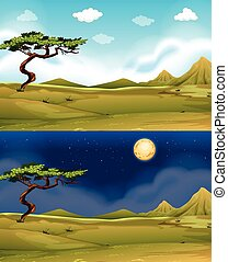 Green field at daytime and nighttime illustration