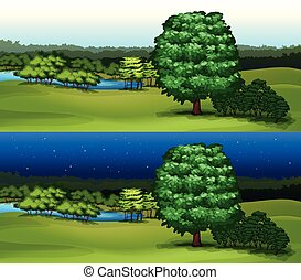 Green field at daytime and night time illustration