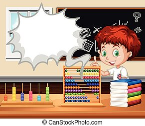 Boy standing in the math class illustration