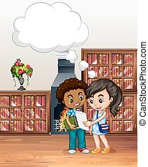 Boy and girl in the library