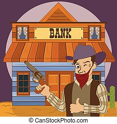 Bank robber - Vector illustration of a cartoon bank robber...
