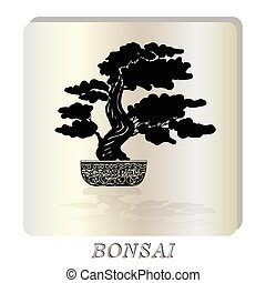 Bonsai silhouette over a pearl background