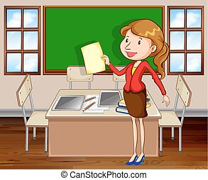 Female teacher standing in the room illustration