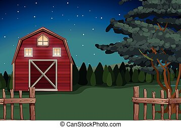 Farmhouse on the farm at nighttime illustration