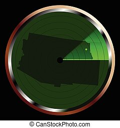 Radar on Arizona - The screen of a typical radar device in...