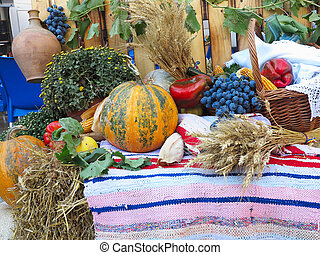 composition with a variety of organic vegetables and fruits over carpet