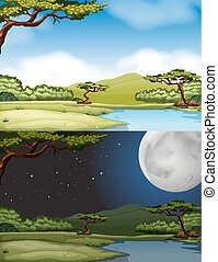River scene at daytime and nighttime illustration