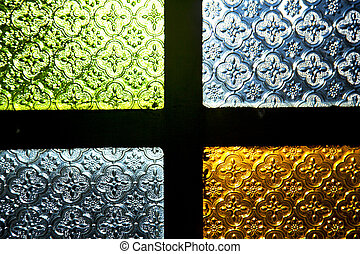 colorated glass and sun window light - colorated glass and...