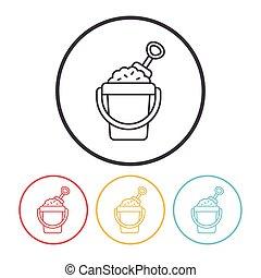sand bucket line icon