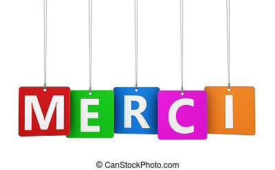 Merci Sign On Colorful Tags - Merci word and sign on...