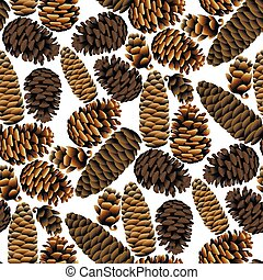 Seamless pattern of the pine cones - Vector seamless pattern...