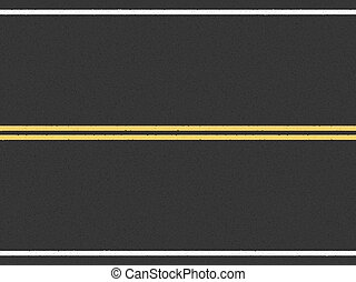 Asphalt Road - Horizontal asphalt road with double yellow...
